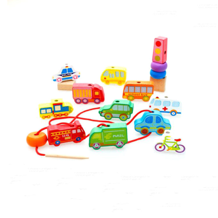 2019 Montessori Amazon hot selling Mini rope toy car wearing rope building blocks Wooden blocks wearing rope toy