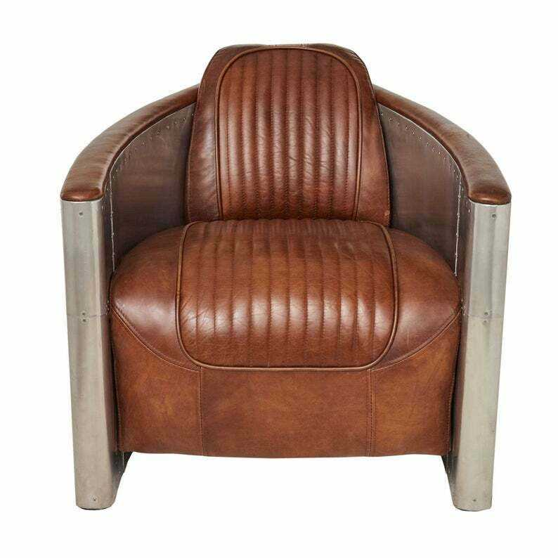 ACME brancaster retro pu leather aluminum back armchair aviator Accent armchair