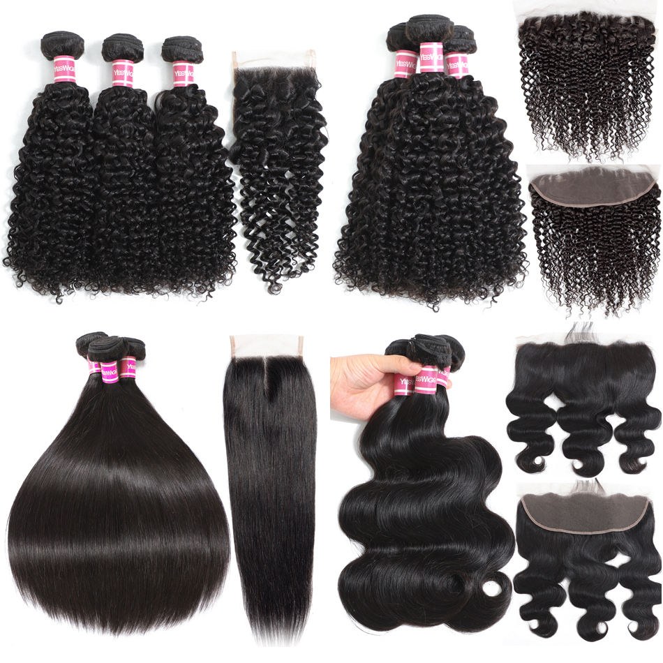 Yeswigs Cheap Raw Indian 100% Human Hair Kinky Curly Bundles With Closure Virgin Mink Brazilian Cuticle Aligned Hair Extensions