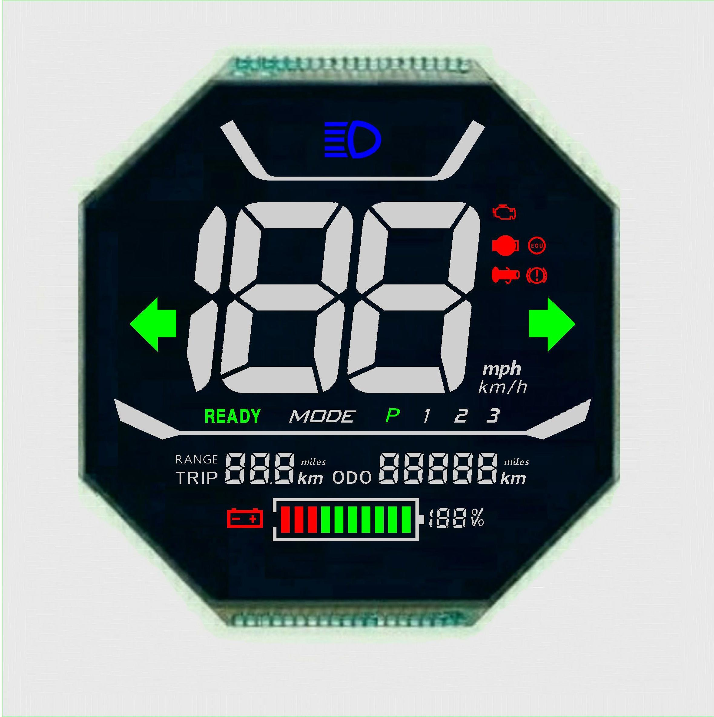 speed meter lcd display 7 segment lcd display outdoor black and white VA negative mode metal pin connector LCD panel