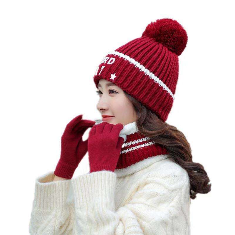 Hot sale pom pom knitted beanie hat scarf & gloves set for women