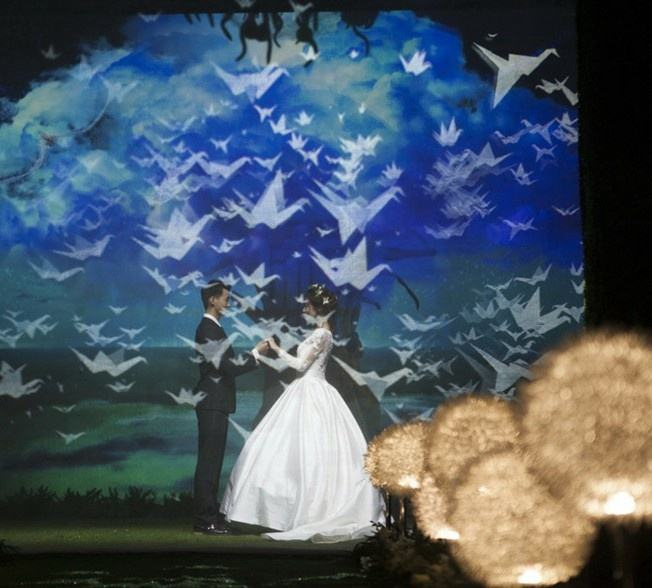 Stage Show 3D Holographic Mesh Projection,Gauze white Holographic Mesh Screen in daylight time