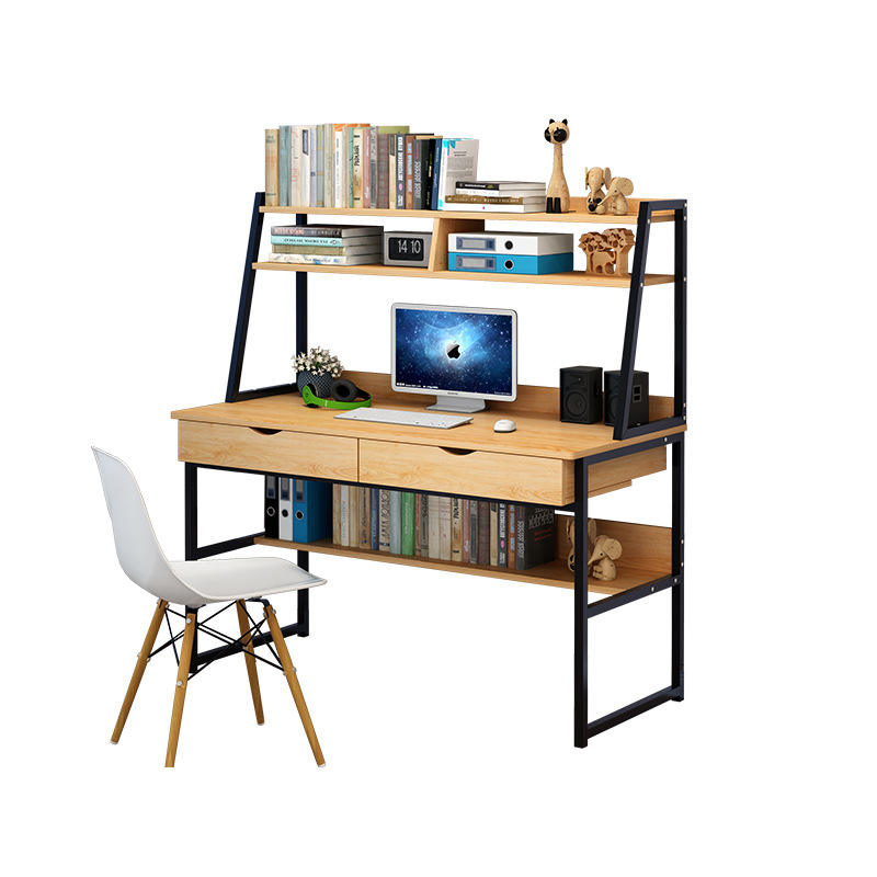 Double Steel Wood Integrated Desktop Computer Desk For Student With Bookshelf Working Table Office