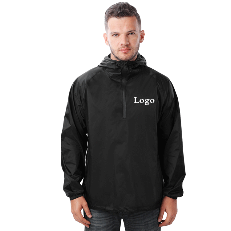 Wholesale Mens 100%Nylon Packable Custom Logo Waterproof Jacket Light Weight Rain Jacket