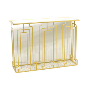 Modern Luxury Living Room Gold Hallway Entry Metal Mirror Console Table