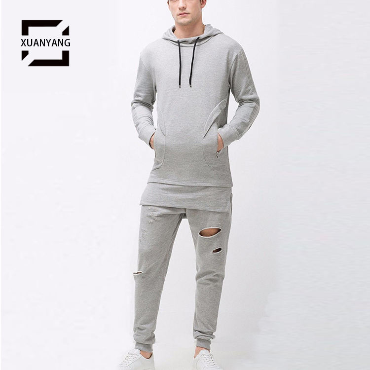 2021 mens ripped french terry sports Jogging training wears grey tracksuit running suits men