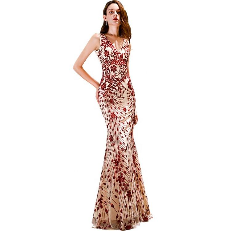 Sleeveless Sequin Mermaid V-Neck Floor Length Ivory Prom Dress Prom Gowns