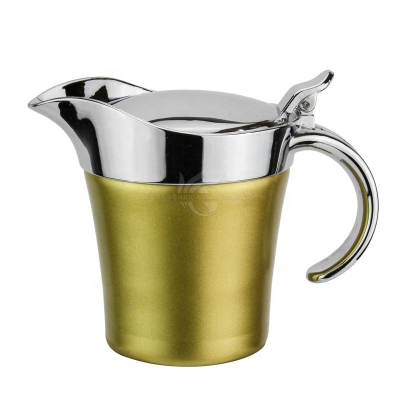 Stainless Steel 16oz Brushed Gold Gravy Boat Double Insulated Jug with Hinged Lid Ideal for Gravy or Cream at Thanksgiving