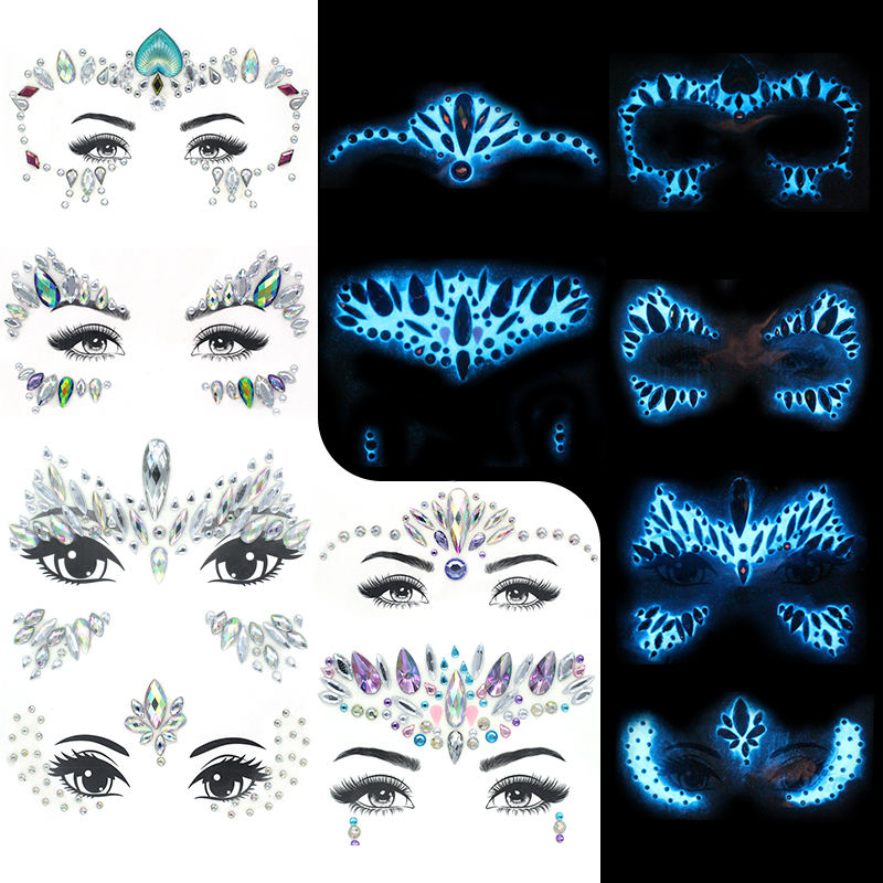 Women Mermaid Face Gem Glitter Rhinestone Rave Festival Glowing Face Jewels