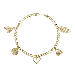 Bracelet-123 Xuping new arrival 14k gold plated multi designed jewelry lock gold charm bracelet
