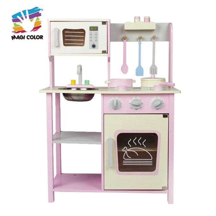 2020 new arrival wooden kids kitchen play set with cabinet W10C500