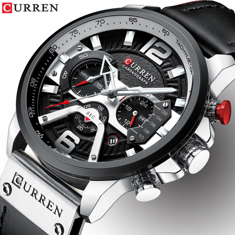 CURREN 8329 Mens Watches Top Brand Luxury Leather Sports Watch Fashion Chronograph Quartz Man Clock Waterproof Relogio Masculino