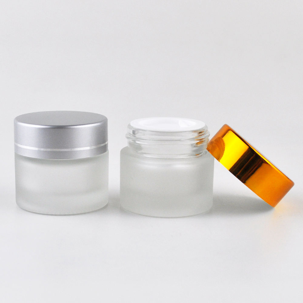 High quality 5g 10g 15g 20g 30g 50g 100g clear amber glass cosmetic cream packaging frosted glass cream jar