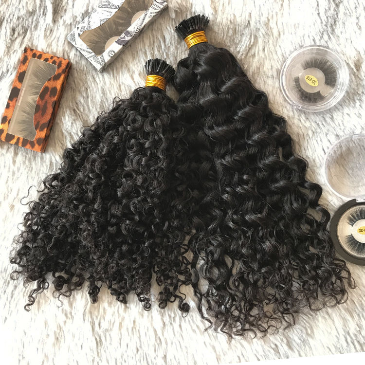Wholesale Raw Cambodian Hair Vendor Micro Links Tip 100 Strands Virgin I Tip human hair extensions Curly