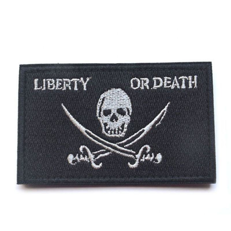 Tajima embroidery machine woven patches with logo LIBERTY OR DEATH patches embroidered