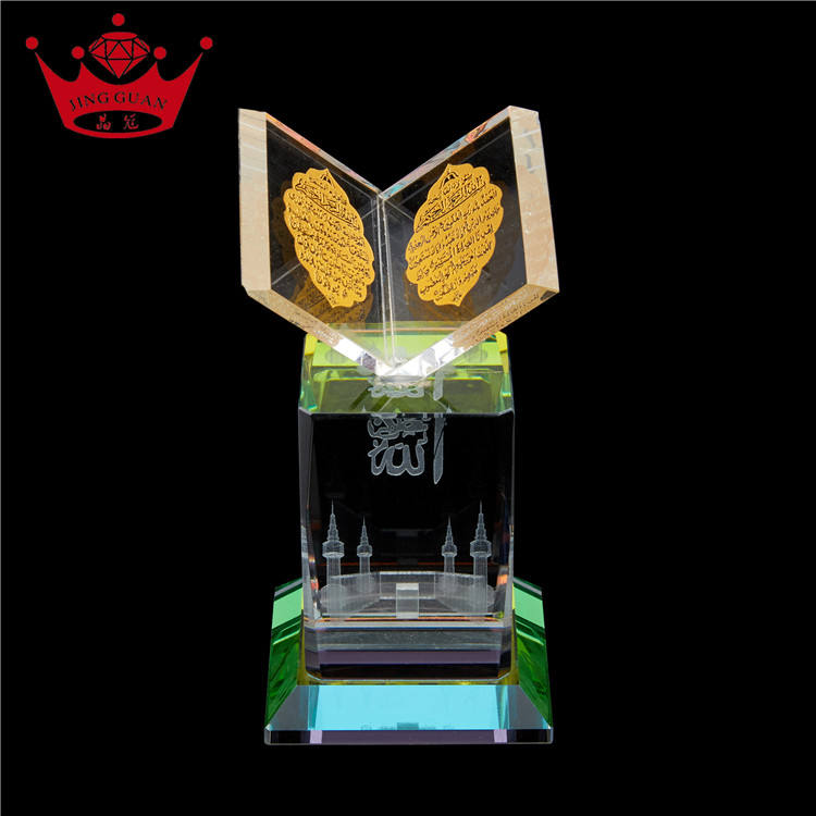 Muslim Islamic Crystal Gifts Mecca Mosque Crystal Laser And Quran Decoration Souvenir Gifts