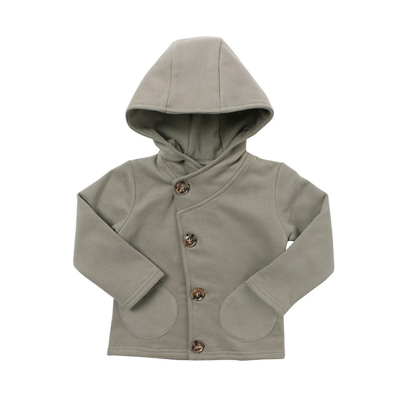 European Style Kids Clothing Two Pocket Front Children Hoodie Tops Boys Clothing Button Through Sweat Jacket Coat