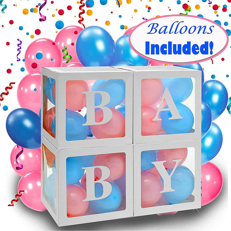 Nicro 4pcs Transparent Balloon Box For Girl Baby Shower And Baby Birthday Personalized Custom Letter Balloon Box