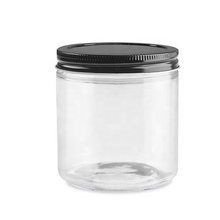 Wide Mouth Clear Straight Sided Storage Bottle 16OZ Glass Jar with Metal Lid