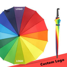 Optional Color Polyester Material rainbow golf umbrella