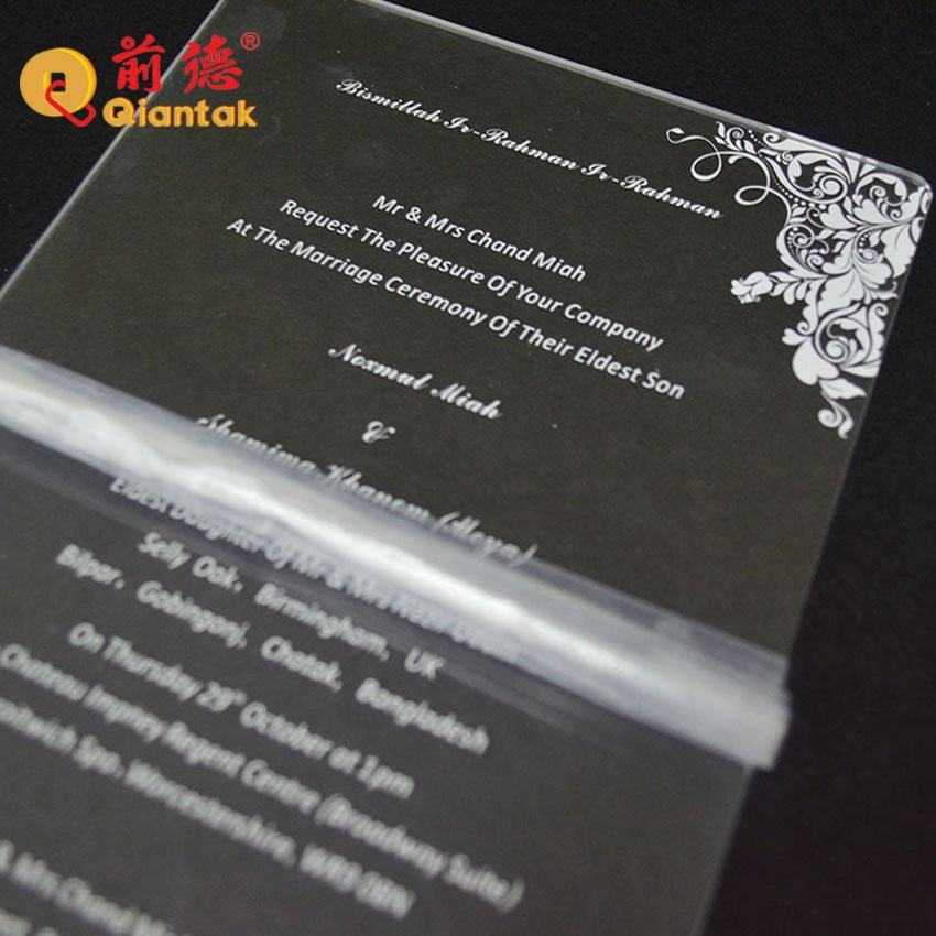 Wholesale Modern Design Laser Cut Acrylic Wedding Invitation