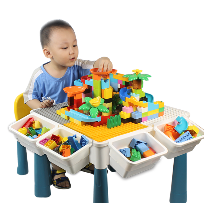 Duploing Multifunctional Building Table And Chairs Children Blocks Toy Table Learn Desk