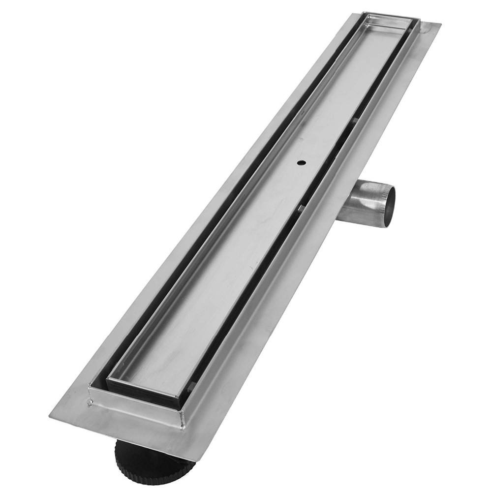 Aootan Model H 600mm tile insert 304SS polished or Brushed with flange 70mm width side outlet channel drain