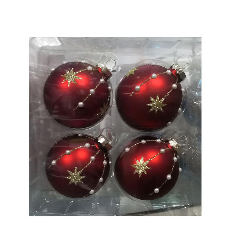 Christmas Decoration Seamless Glass Christmas Ball Ornaments, Red Velvet Multi, 4 Pieces