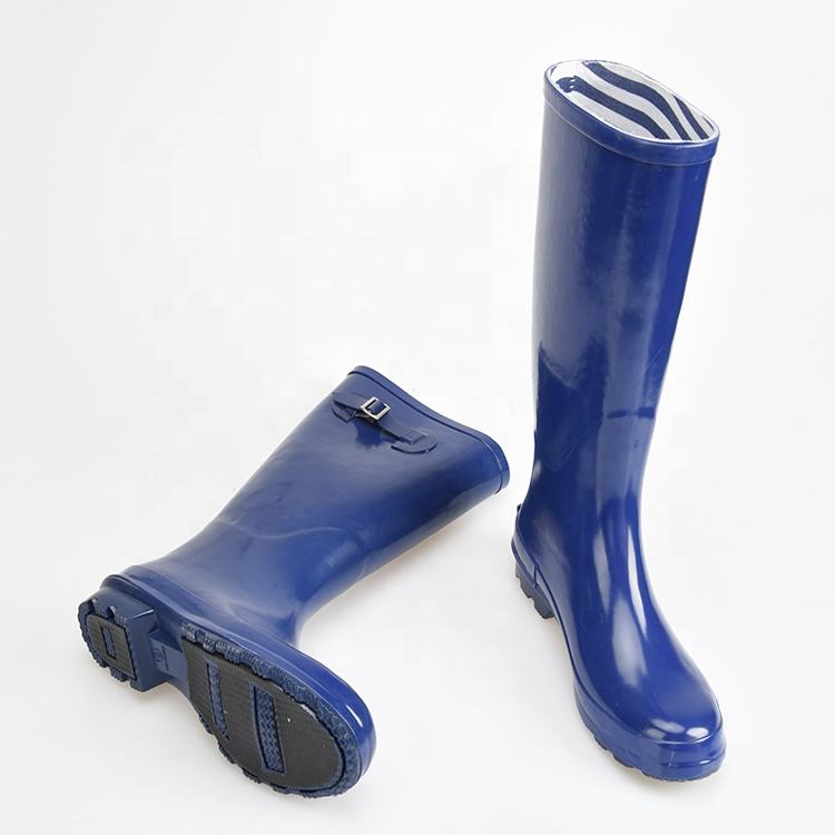 Wholesale Western Style Lady Fashion Knee High With Buckle Women Rubber Wellington Rain Boots