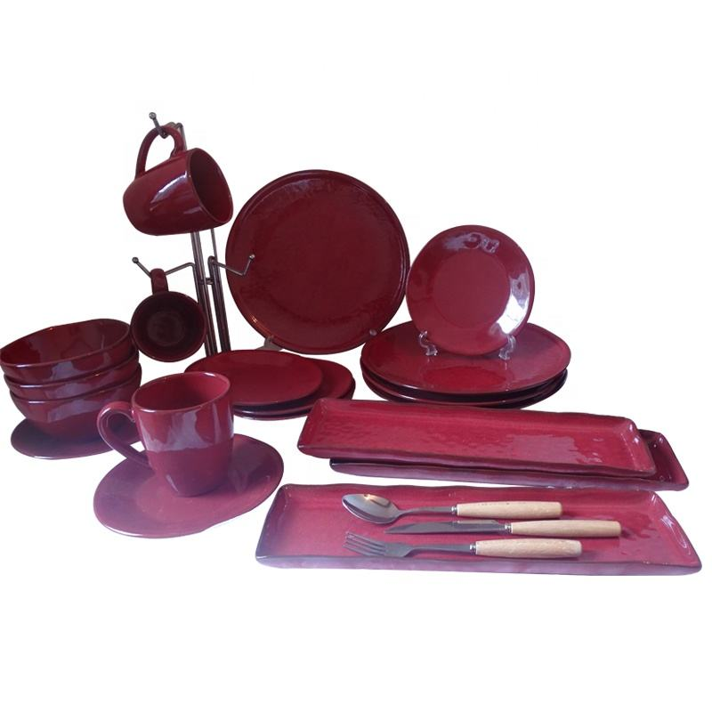 Manufacturer China bowl red color custom stoneware dinnerware sets tableware dinner set