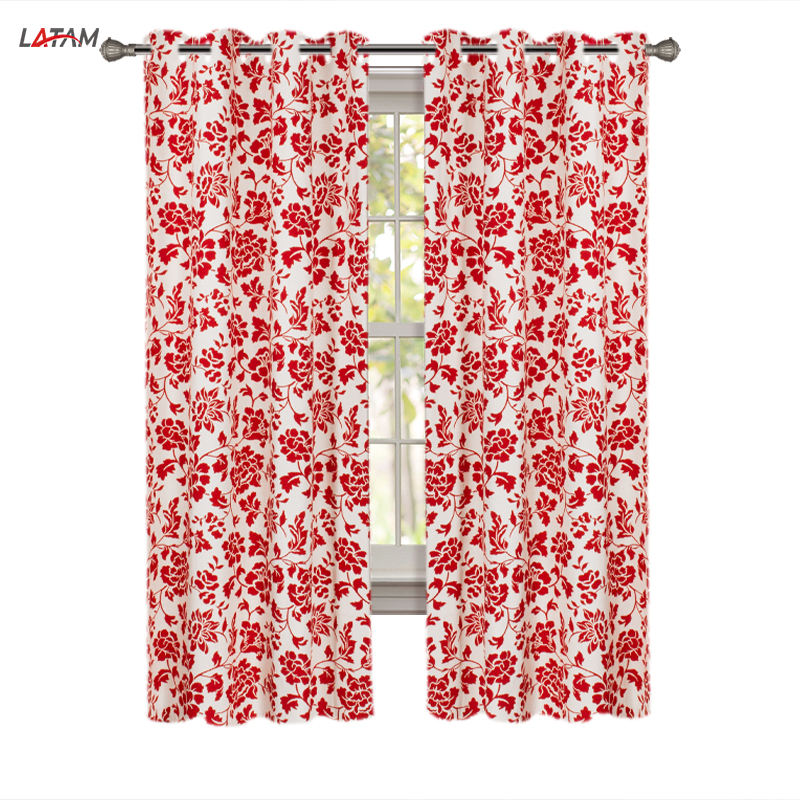 Wholesale Blackout window curtains Cortina Polyester Fabric Cheap Colorful Polyester Floral Printed curtains for the living room