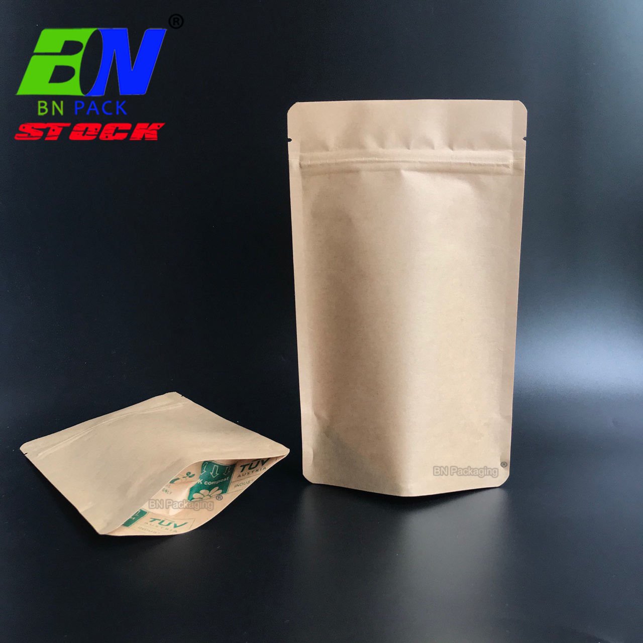 stock kraft paper biodegradable TUV home compostable zipper bag for tea leaf packaging