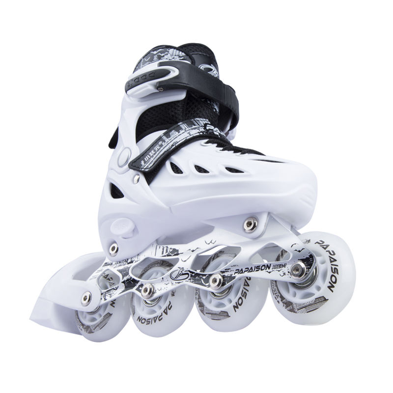 PAPAISON 2020 NEW hardboots PU wheels flashing roller skates in stock black white red colors