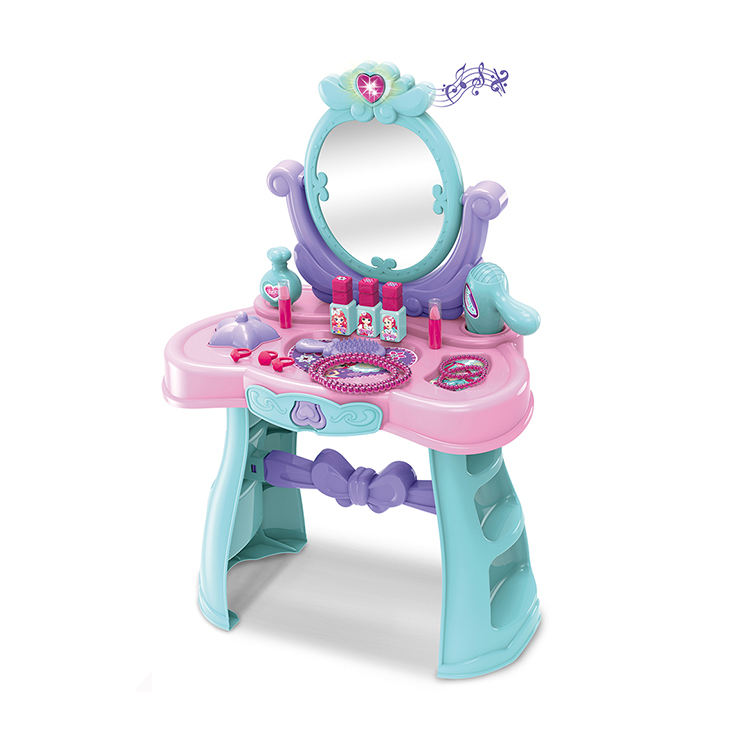 Pretend Play Vanity Dresser Table Kids Toy Beauty Set for Fashion Girls with music and light