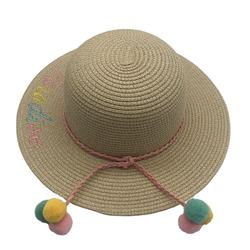 Fashion Woman Girls summer Beach Sunhats wide brim  Hat Embroidered Letter Straw Hat with rope