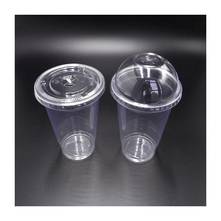 Disposable 16oz Smoothie Clear PET Plastic Cups With Flat Lid