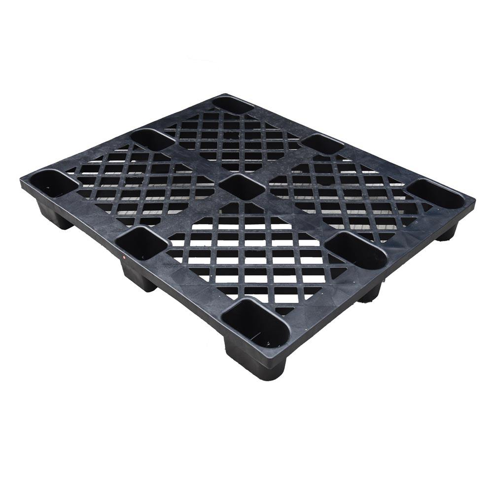 Lowest cost distribution nestable perforated deck black cheap plastic pallet