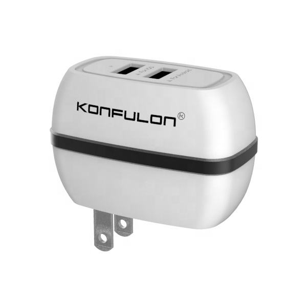 Konfulon 5V 2.4A Dual USB Wall Charger Fast Charger Power Adapter EU UK US Plug Home Travel for Smart Devices