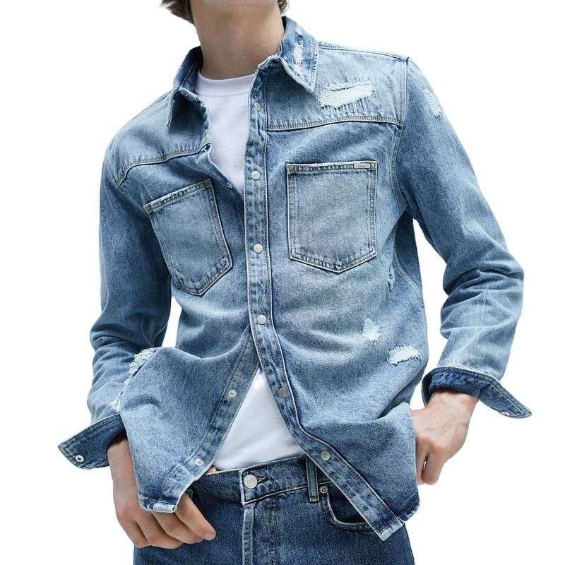 Diznew Bulk Wholesale Long Sleeve Embroidered Blue Denim Jeans Men Shirts