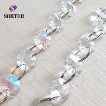 wholesale ceiling hanging clear octagon string door bead crystal curtain chain with glass for wedding decoration of hotel