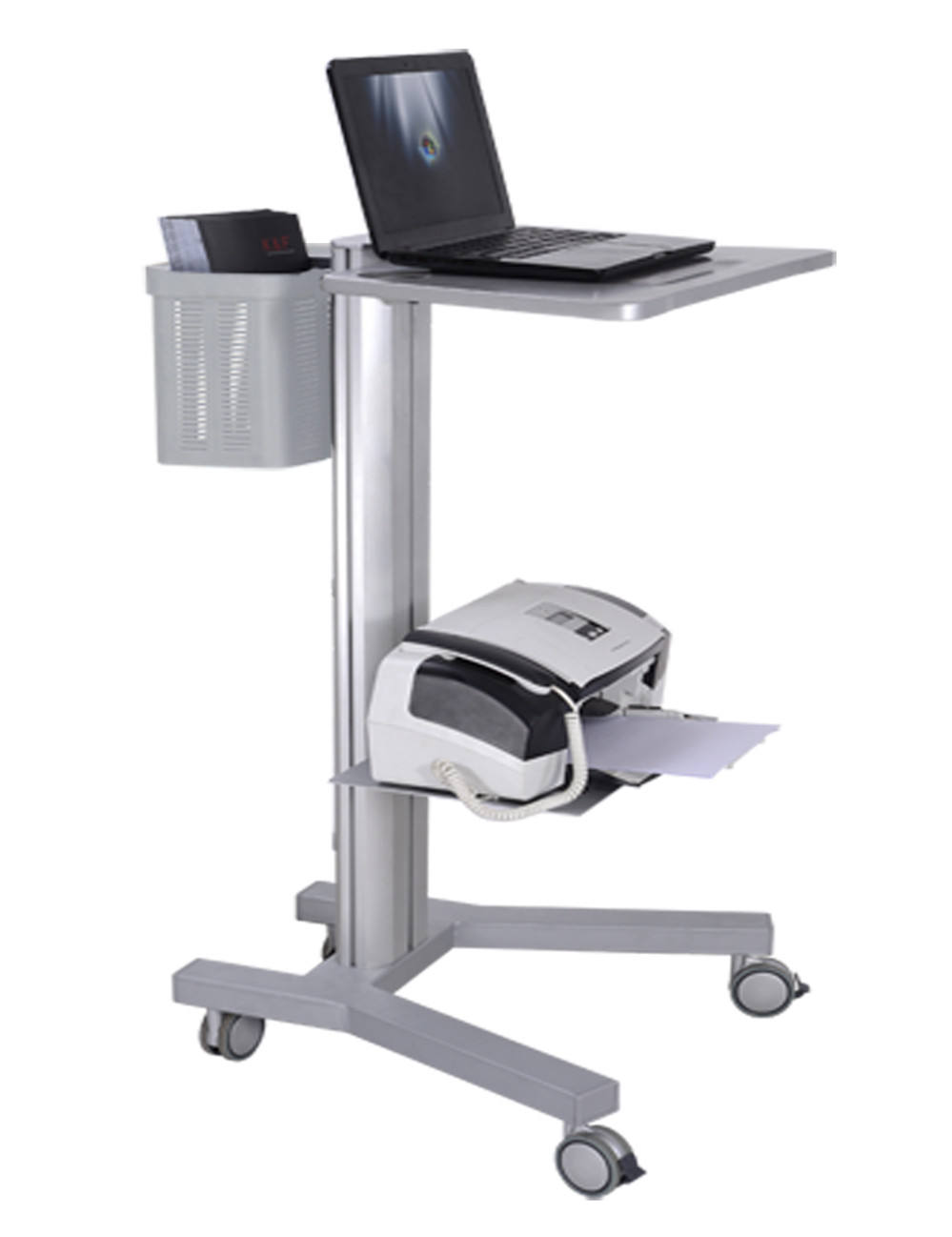 All In One Height Adjustable Industrial Laboratory Medical Hospital Workstation Mobile Rolling Laptop Computer Cart Trolley
