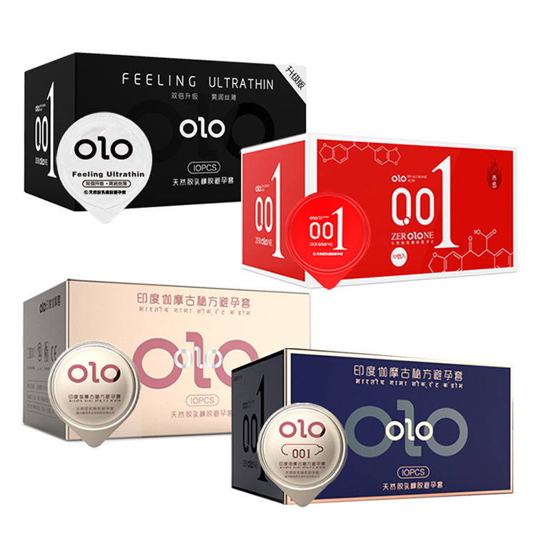 OLO 001 Condoms Ultrathin Hyaluronic Acid Natural Latex Condoms Dotted Condom for men