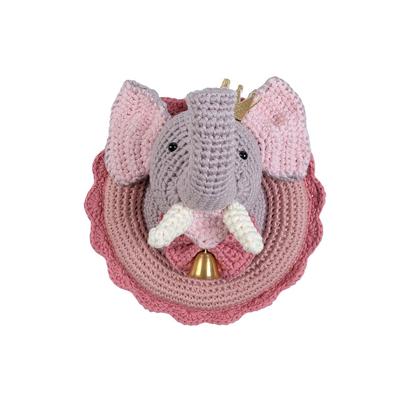 Yarncrafts Elephant Queen Decorative Handmade Decor Crocheted Animal Head Wall Hanging
