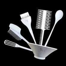 6Pcs/Set Salon Plastic Hair Coloring Tinting Tools Stick Comb Brush Hair Dyeing Kit With Spoon Mixing Bowl