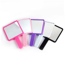 Manufacturer direct sale handheld plastic beauty salon handle hand held mirror portable mini square small cosmetic mirror