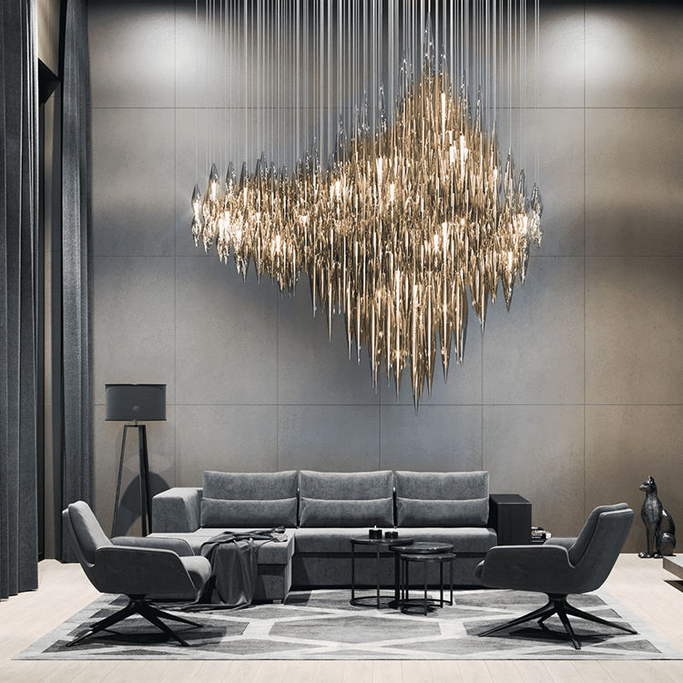 Modern luxurious customizable conference room crystal lighting led chandelier light