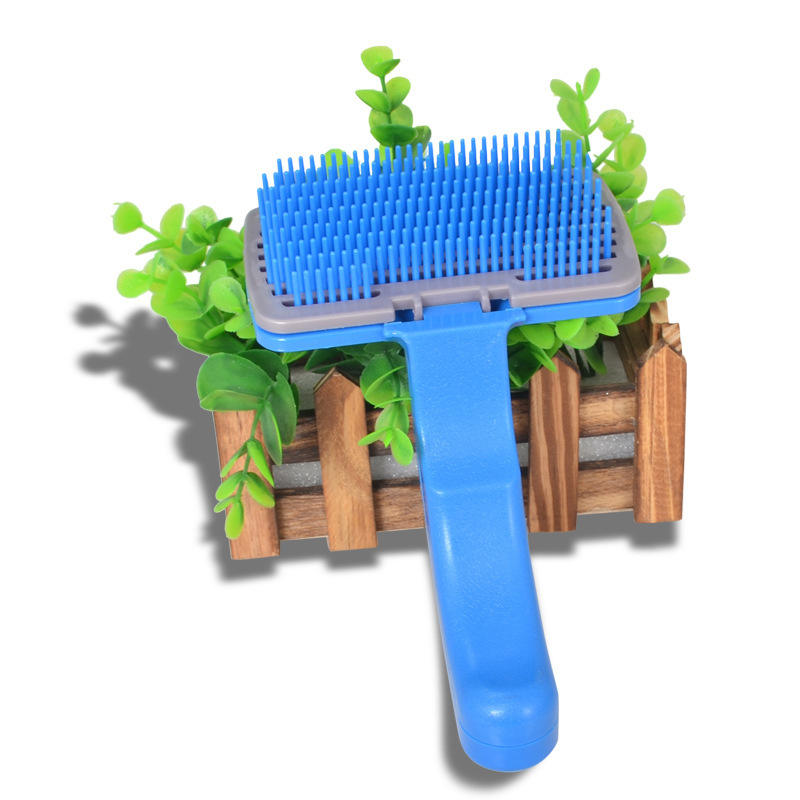 Factory hot selling easy using dog brush for shedding dog hair brush pet grooming comb with self cleaning botton
