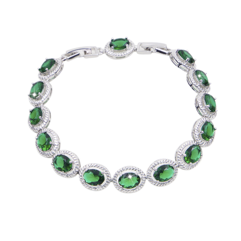 white gold plated Bracelet green color Stone Woman Christmas Jewelry bisuteria Evil Wholesale bracelet for wedding gift