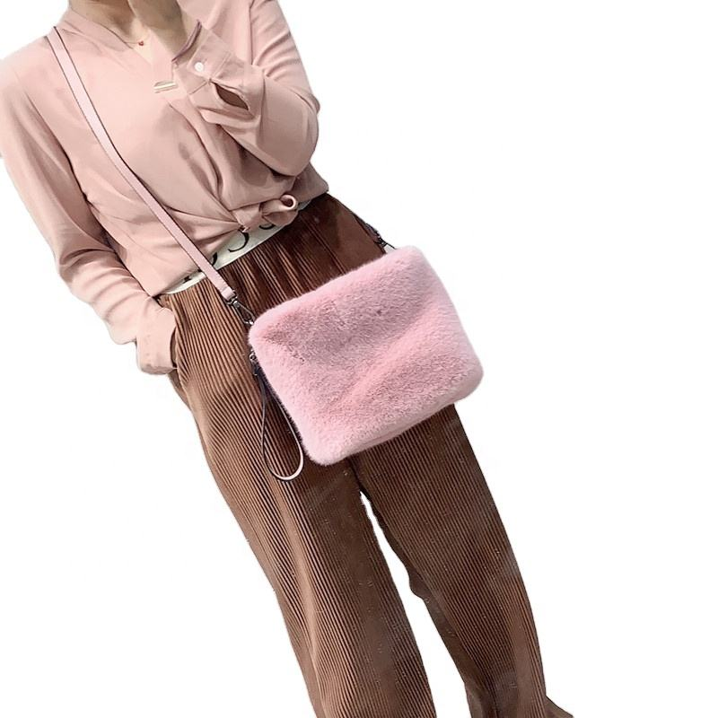 Wholesale faux fur eco-friendly mink velvet handbag messenger bag fashion various colors