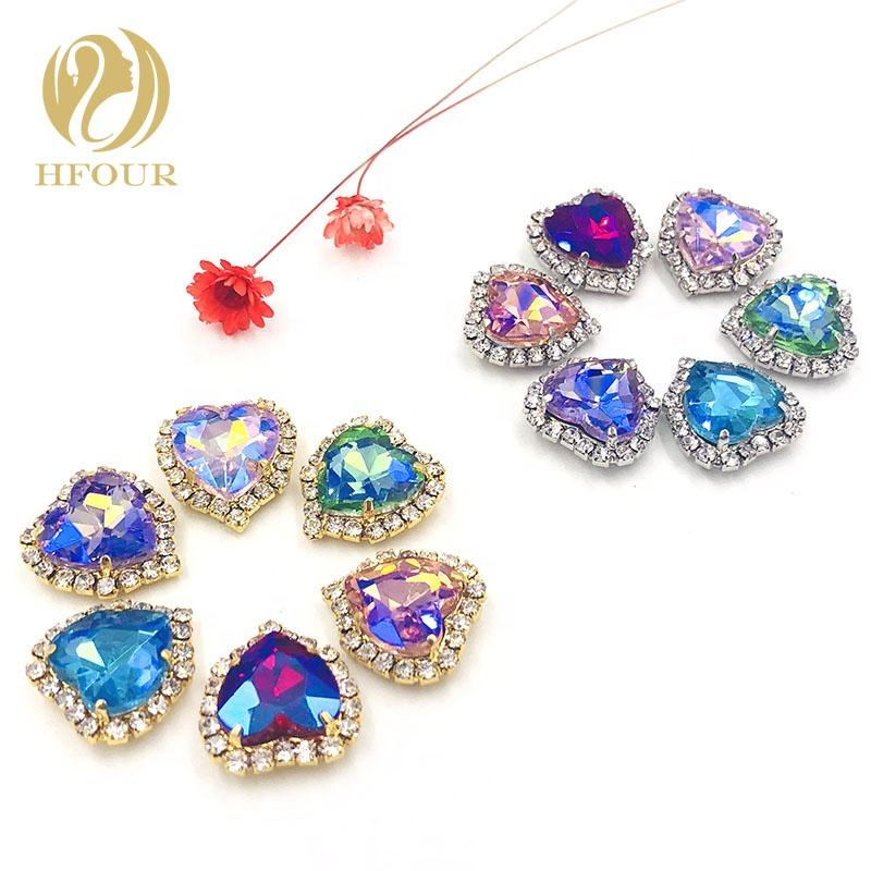 Crystal AB Color Heart Shape Sewing Rhinestones With Gold Claw Setting